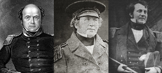 John Franklin, le capitaine du Terror, Francis Crozier et James Fitzjames, second de Franklin